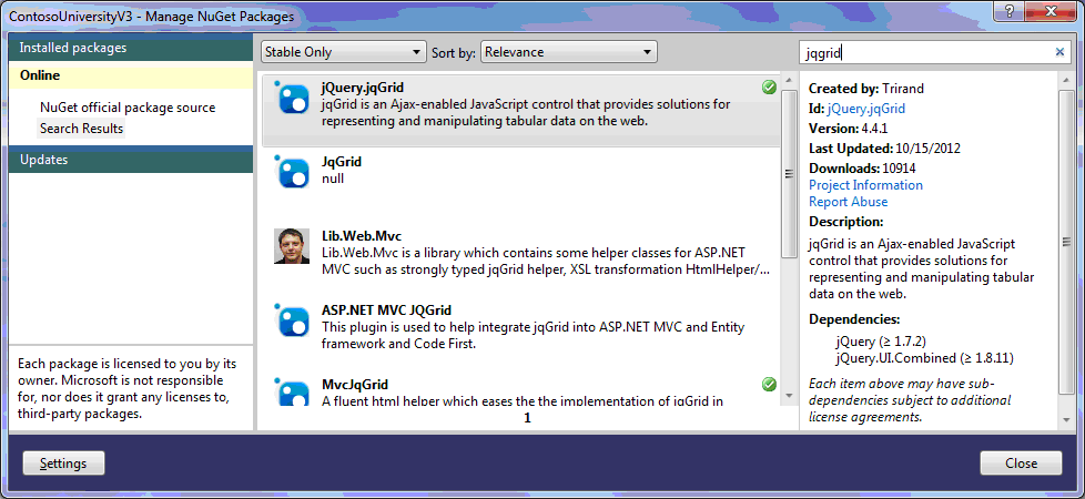 Asp Net MVC and jqGrid with C# - My first jqGrid