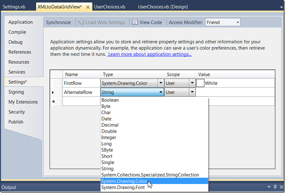 DataGridView – Saving and Reusing user settings - Ged Mead's Blog