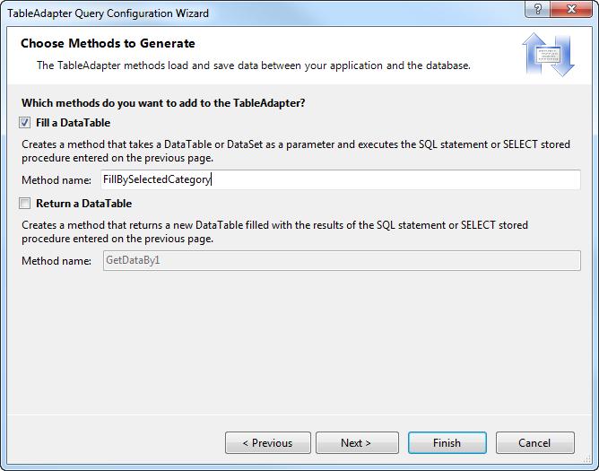 ADO NET: Parameterized Query – Adding a User Selected filter