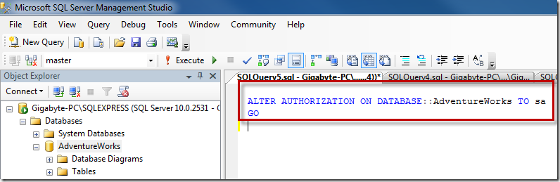 Sql server error message database diagram support objects cannot be alter authorization to sa ccuart Image collections