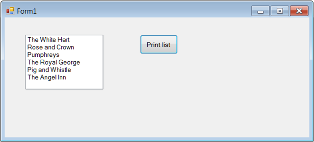 How To Print a Windows Forms ListBox to a selected printer