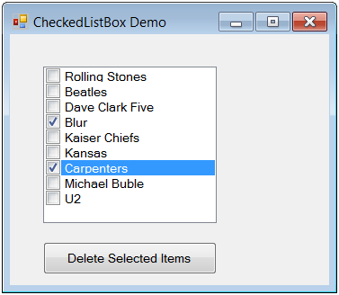How to delete selected items from a CheckedListBox - Ged
